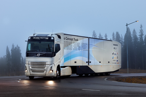 Hybride aandrijflijn voor internationaal transport getest in Volvo-concepttruck